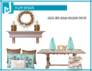 Gold and Aqua Holiday Decor